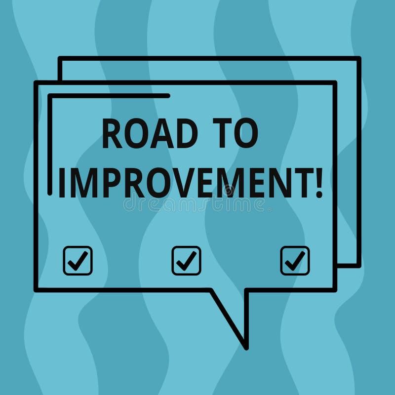 向改善的概念性手文字陈列路 事做事更好或的企业照片陈列的方式 向量例证