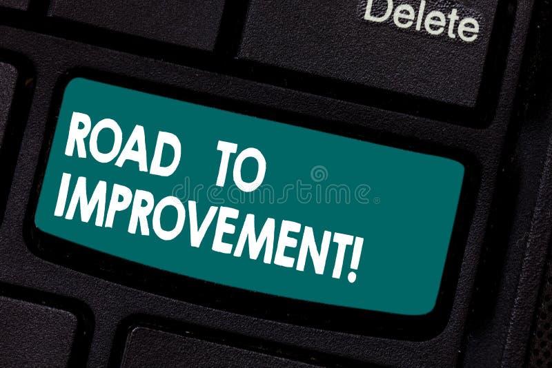 向改善的概念性手文字陈列路 事做事更好或的企业照片陈列的方式 库存照片