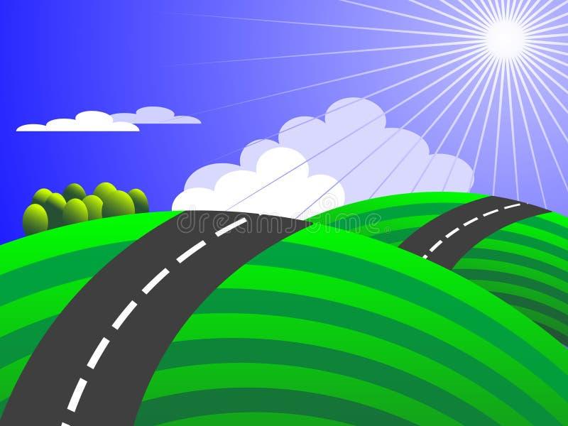 向日出(包括的向量的乡下公路) 向量例证