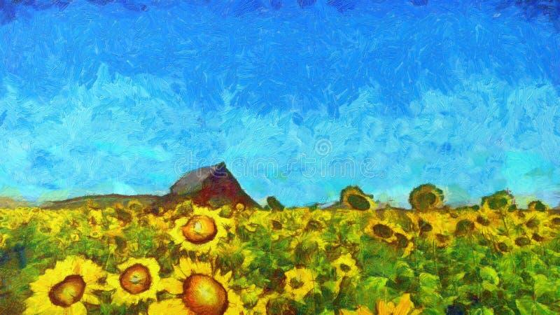 向日葵在夏日种田 向量例证