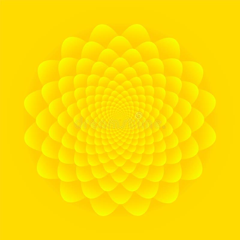 向日葵开花 在明亮的黄色背景的抽象花卉样式设计 皇族释放例证