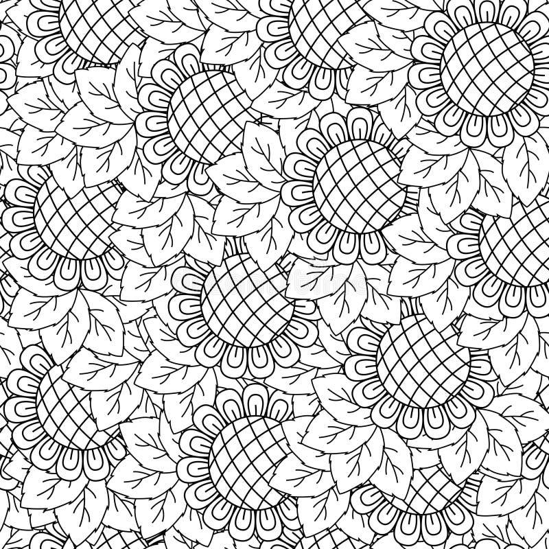向日葵无缝的背景 向量例证