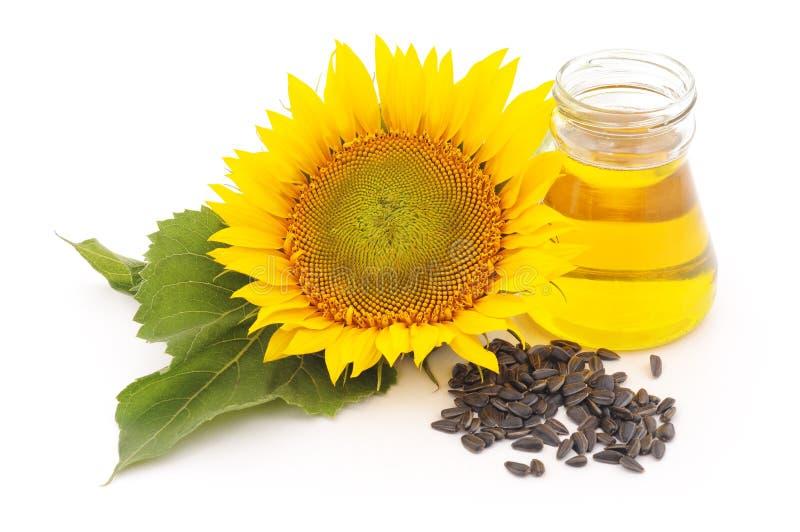 向日葵种子和油花  免版税库存图片