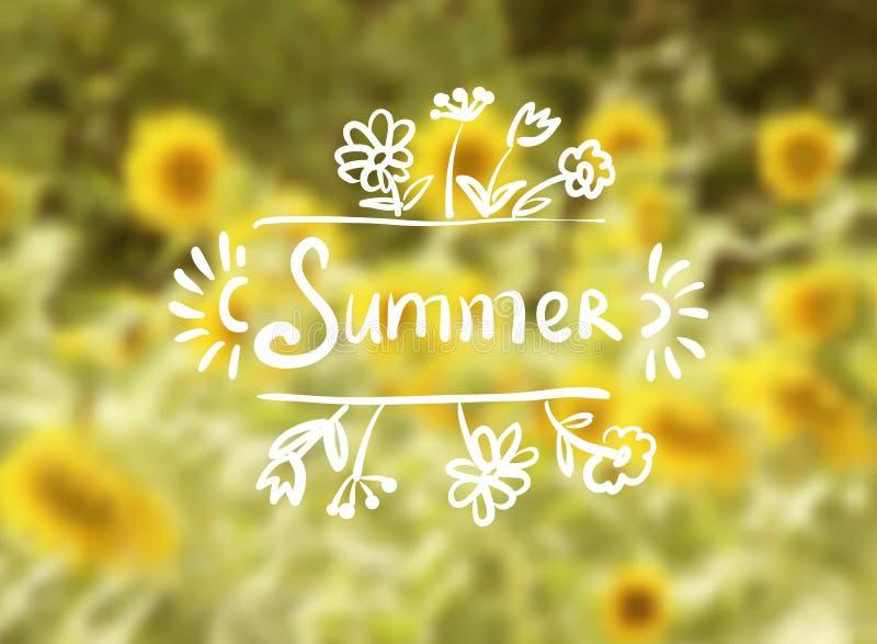 向日葵背景在一个夏日 库存例证