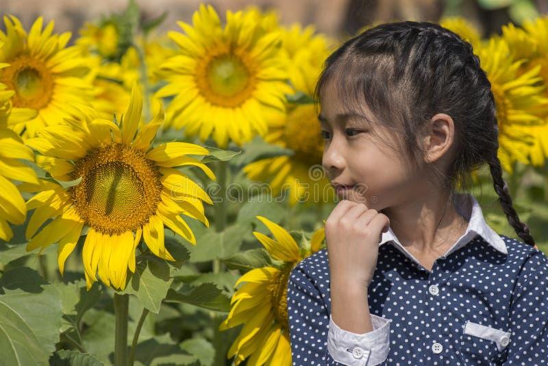 向日葵领域的小泰国女孩 免版税图库摄影
