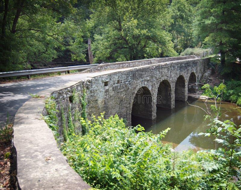 向桥梁扔石头 库存图片