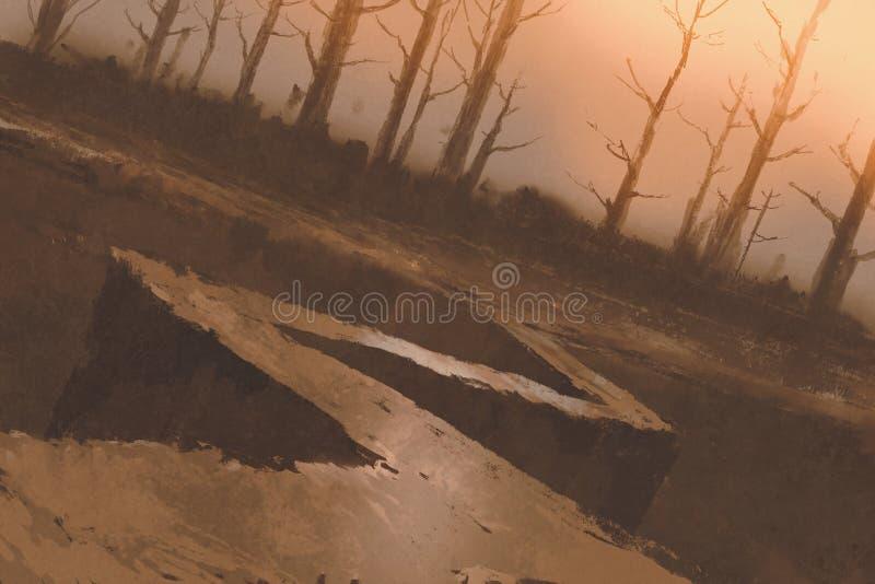 向森林的弯曲道路有光秃的树的 库存例证