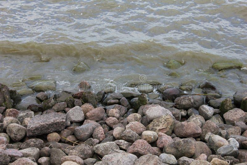 向海岸扔石头 免版税库存照片