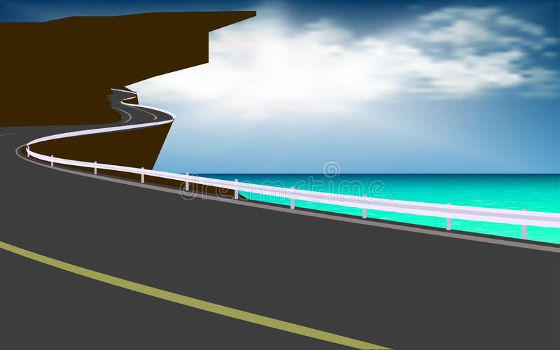 向海滩的路 向量例证