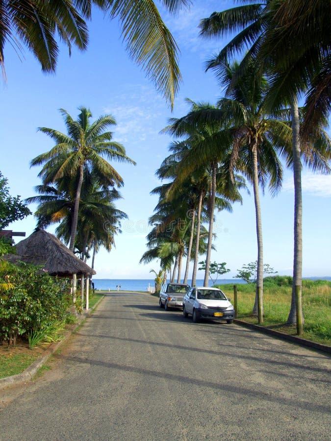 向海滩的路 免版税库存照片