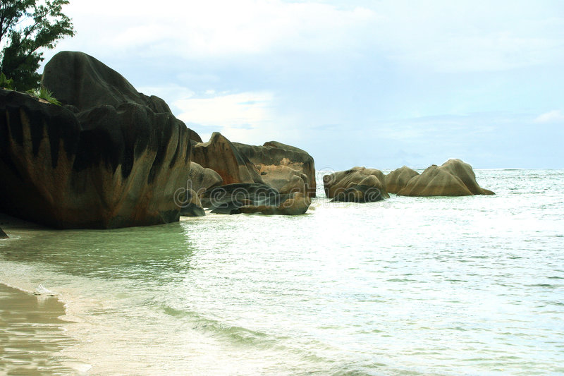 向热带扔石头 库存照片