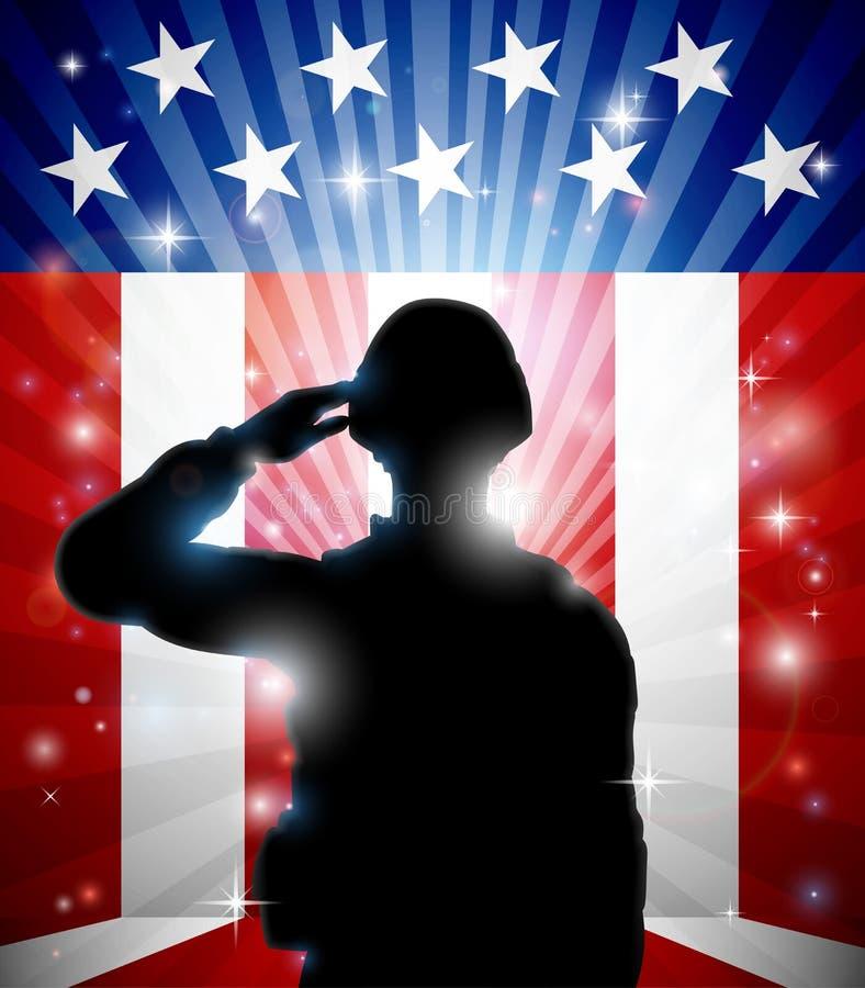 向美国国旗背景致敬的战士 向量例证