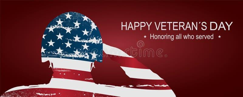 """向美国旗子致敬的战士为阵亡将士纪念日 愉快的经验丰富的` s天海报或横幅†""""11月11日 库存照片"""