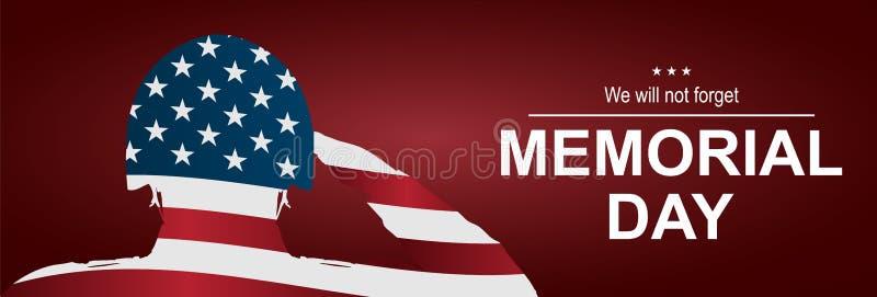 向美国旗子致敬的战士为阵亡将士纪念日 日愉快的纪念品 库存图片