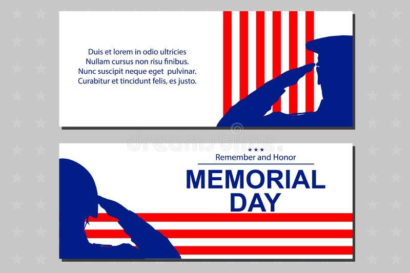 向美国旗子致敬的战士剪影为阵亡将士纪念日 海报或横幅例证 图库摄影