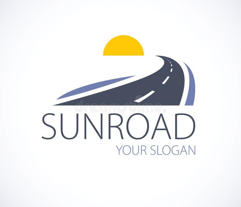向落日,弯曲的高速公路传染媒介完善的desig的路 向量例证