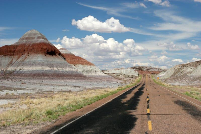 向被绘的沙漠的路 库存照片
