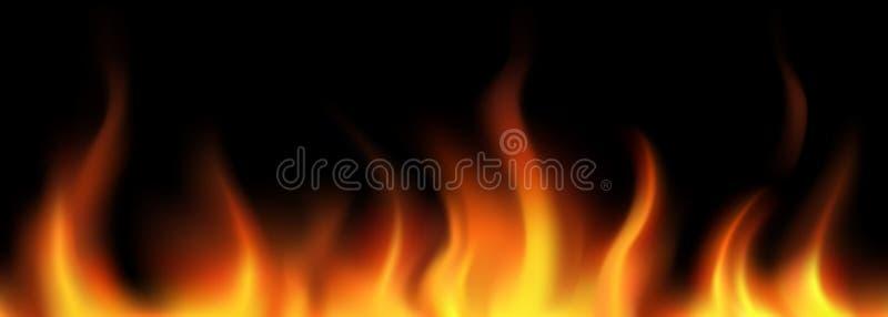 向量。 火焰无缝的边界 皇族释放例证