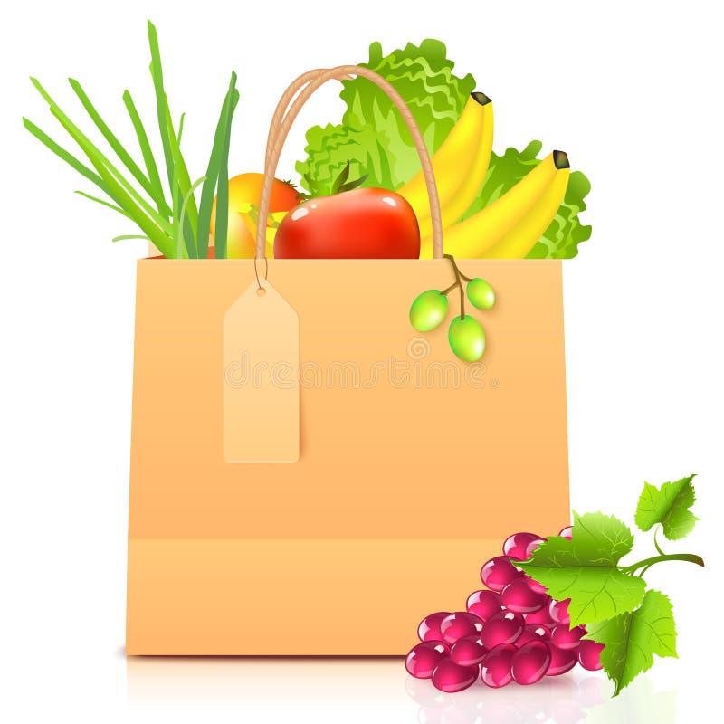 向量与蔬菜的查出的纸袋 向量例证