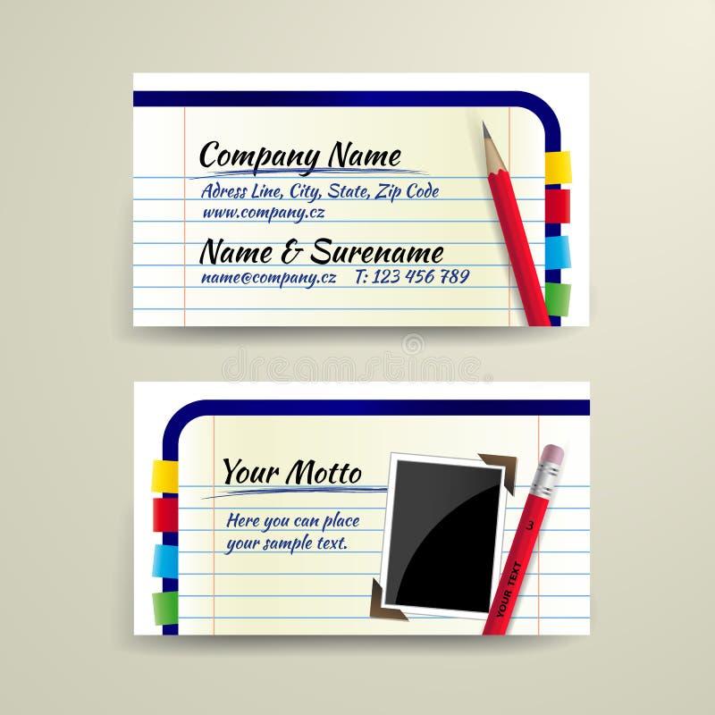 向量与铅笔和笔记本的名片 皇族释放例证