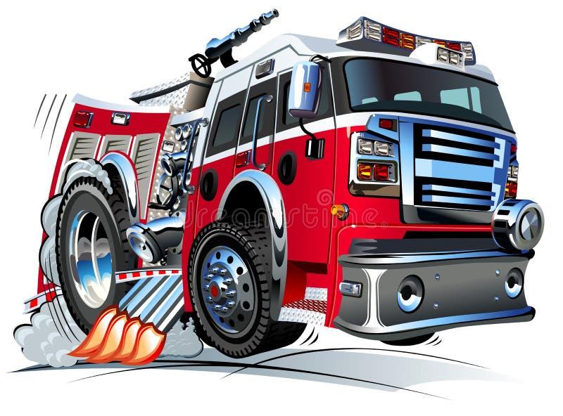向量动画片消防车 库存例证