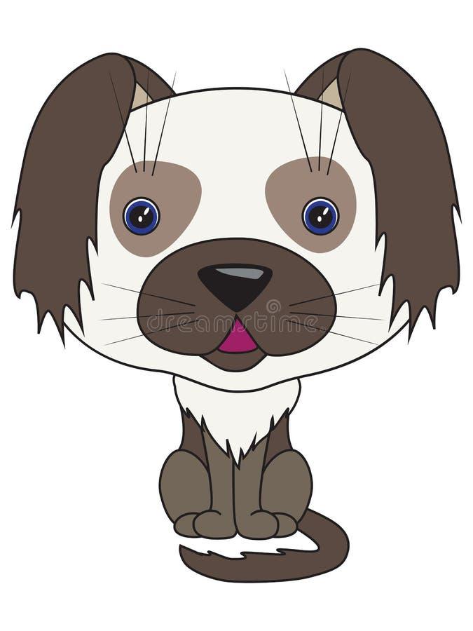 向量动画片-坐的狗 库存例证