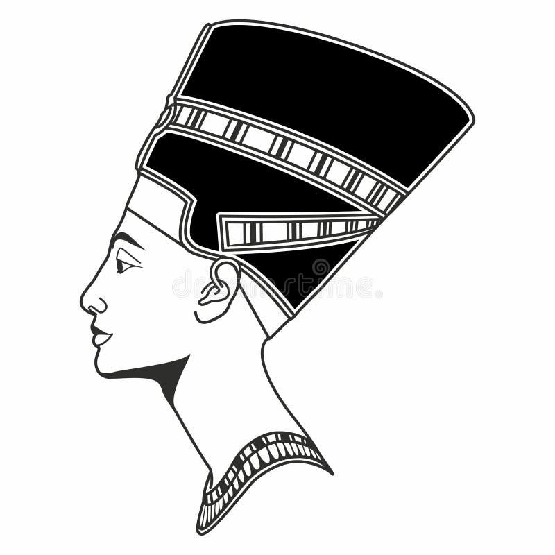 向量图形在外形的Nefertiti图画 库存例证