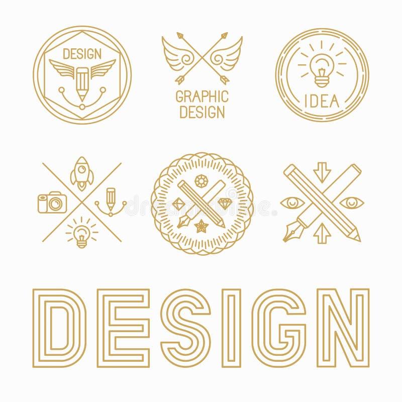 向量图形设计师徽章和商标 库存例证