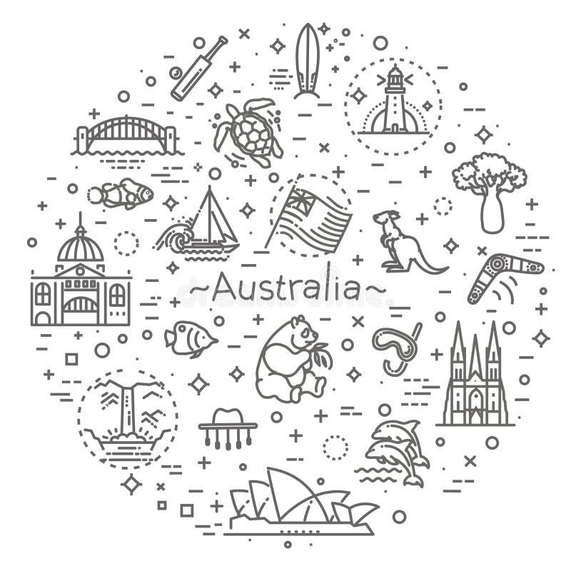 向量图形集合 澳大利亚文化,动物,传统 标志,元素,象征,标志 库存例证