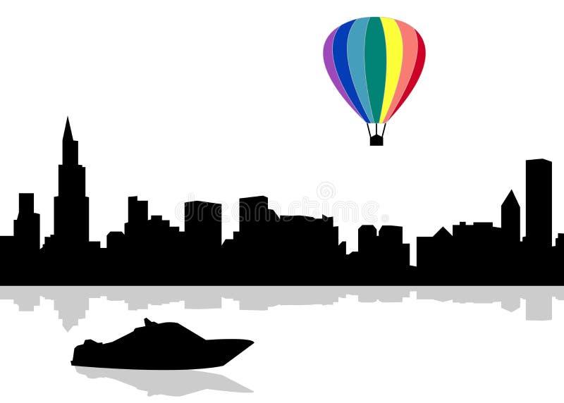 向量城市剪影 颜色气球