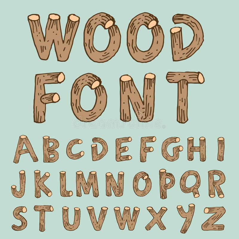 向量字体木样式-传染媒介例证 库存例证