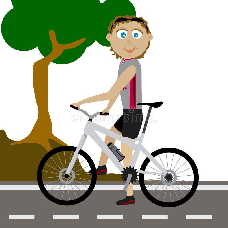 向量山骑自行车的人 皇族释放例证