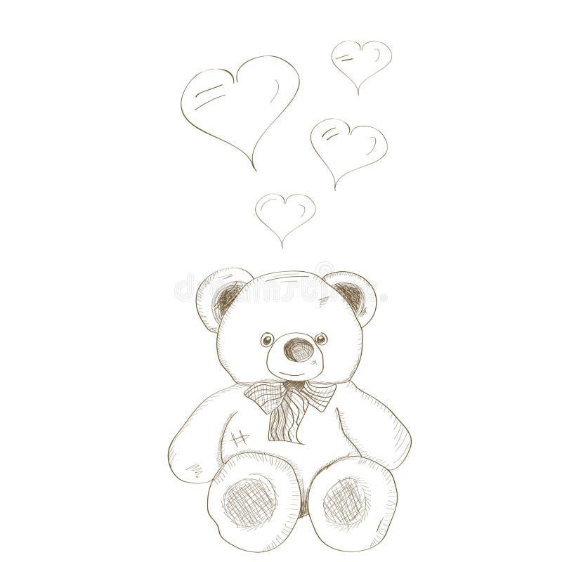 向量手拉的熊 库存例证