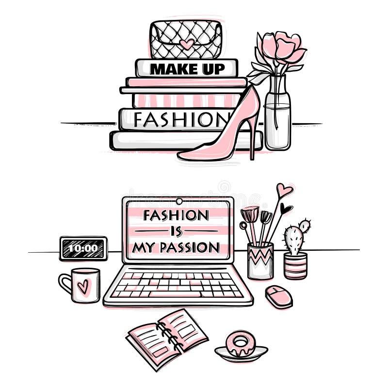 向量方式例证 女孩的桌面概念 时髦的工作场所 库存例证