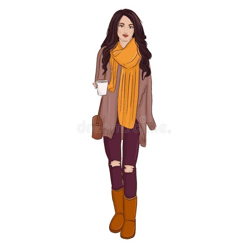 向量方式例证 秋天与魅力妇女的样式海报起动的,牛仔裤,毛线衣剪影 魅力模型印刷品 向量例证