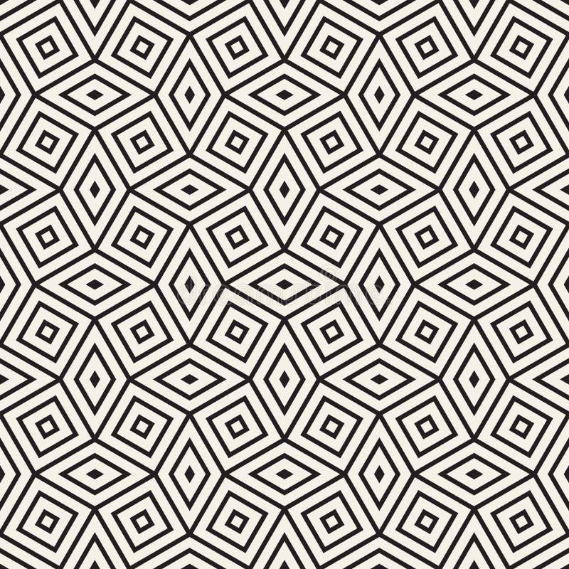 向量无缝的几何模式 当代时髦的瓦片 多角形线性栅格 库存例证