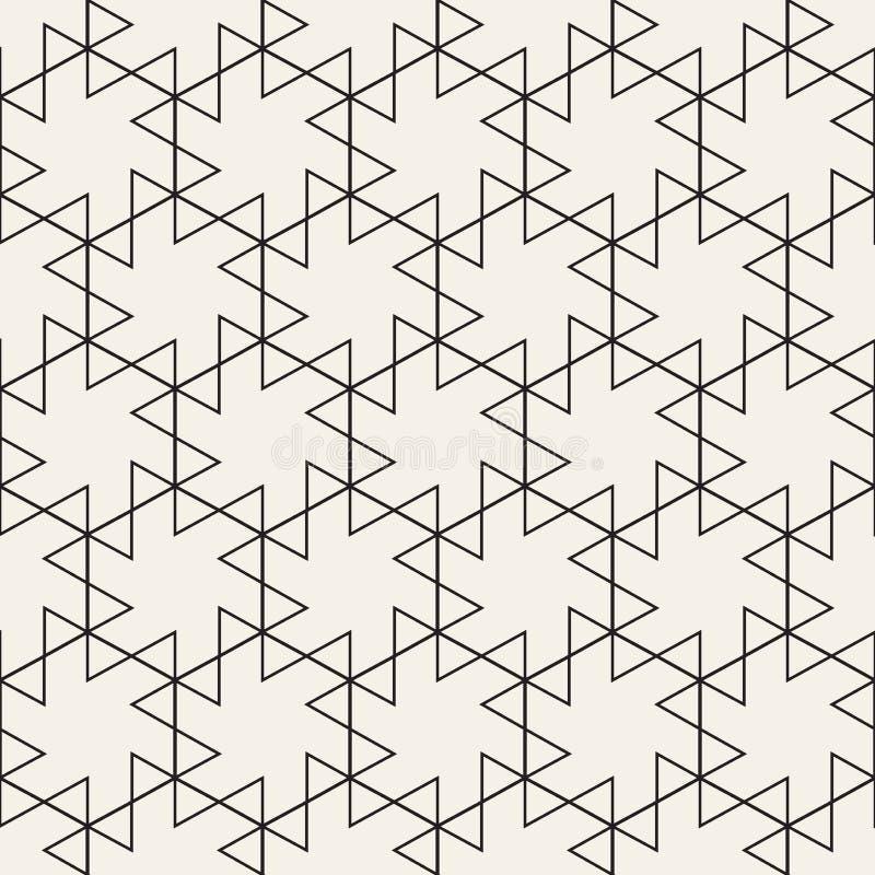 向量无缝的几何模式 简单的抽象线格子 重复三角元素时髦的背景 皇族释放例证