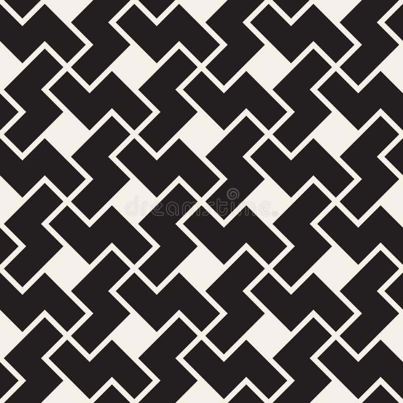 向量无缝的几何模式 简单的抽象线格子 重复之字形塑造背景盖瓦 库存例证