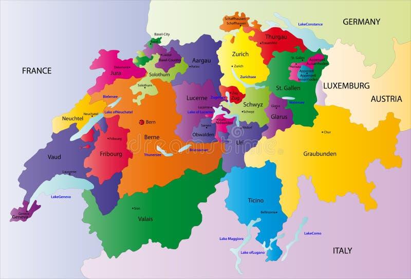 向量瑞士映射 皇族释放例证