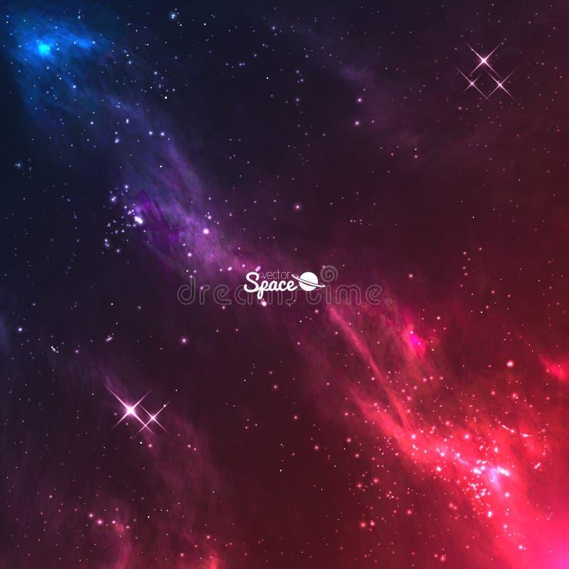 向量空间星系背景 与明亮的星的五颜六色的紫罗兰色红色星云 向量例证