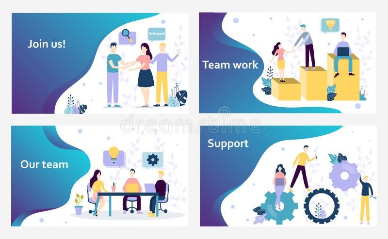 向量网站设计模板 我们在办公室,支持,事务雇用并且加入我们着陆页,配合 库存例证