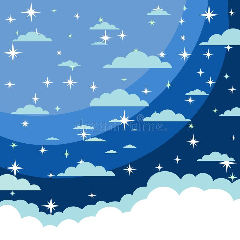 向量背景 满天星斗的夜空 星,天空,夜 向量例证