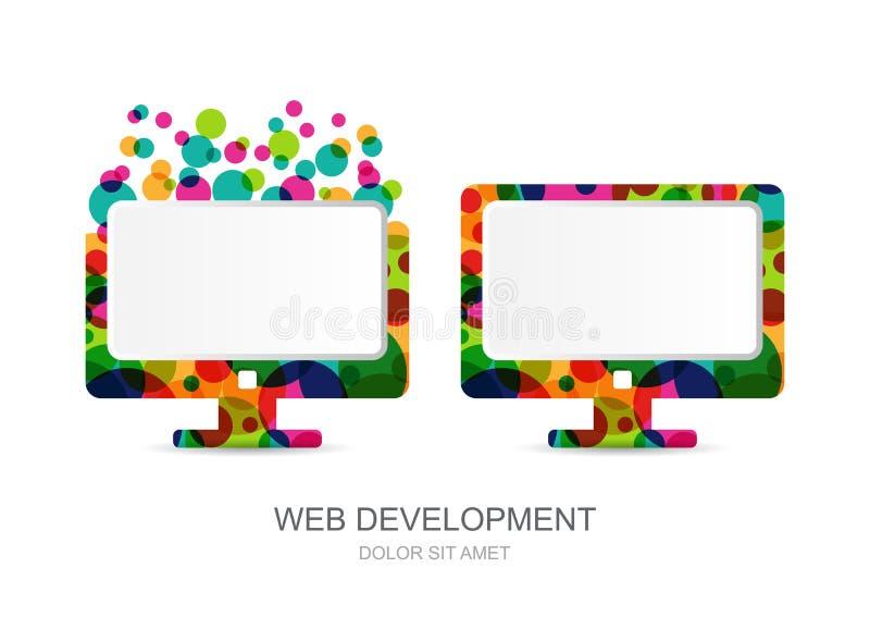 向量计算机从五颜六色的圈子建立的显示器象 库存例证