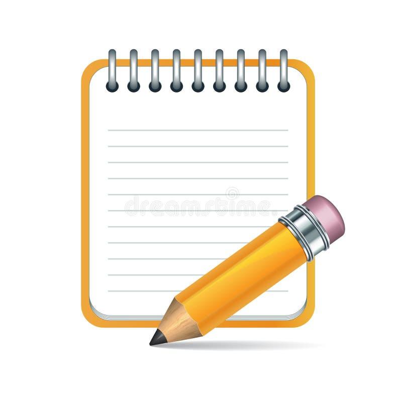 向量铅笔和记事本图标 库存例证