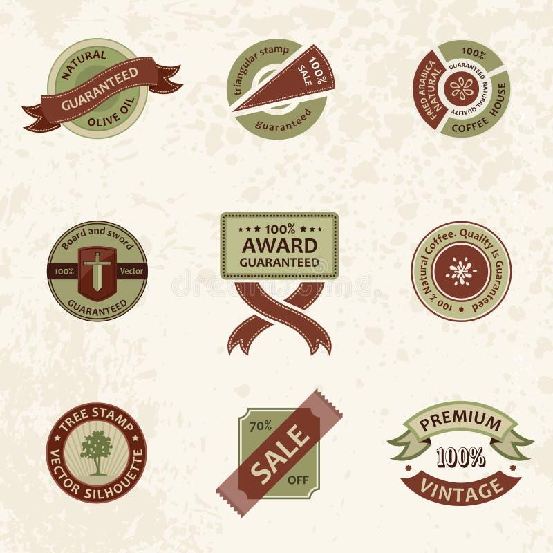 向量集合葡萄酒装饰要素。 丝带印花税 库存例证