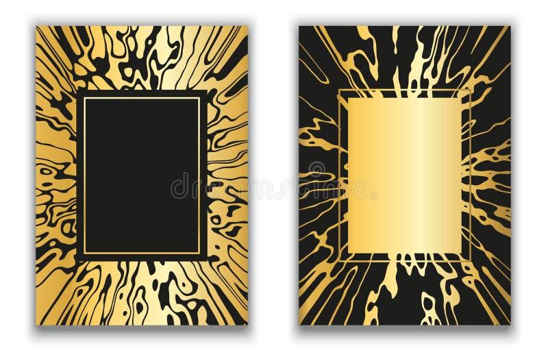 向量 使纹理有大理石花纹 金黄蜘蛛网 粒状表面 流动的液体的作用 大理石被镀金的框架 向量例证