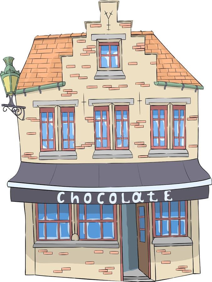 向量 有巧克力商店的老房子 库存例证