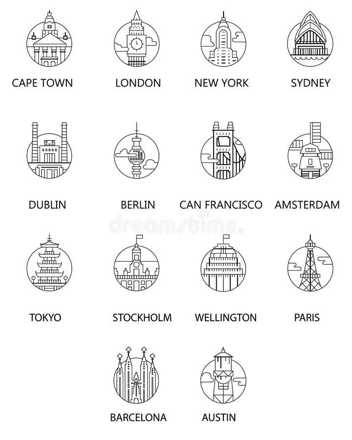 向量 与巴黎,柏林,纽约,都伯林,旧金山,阿姆斯特丹,东京,斯德哥尔摩,惠灵顿,Ba的都市风景黑白色象 免版税图库摄影