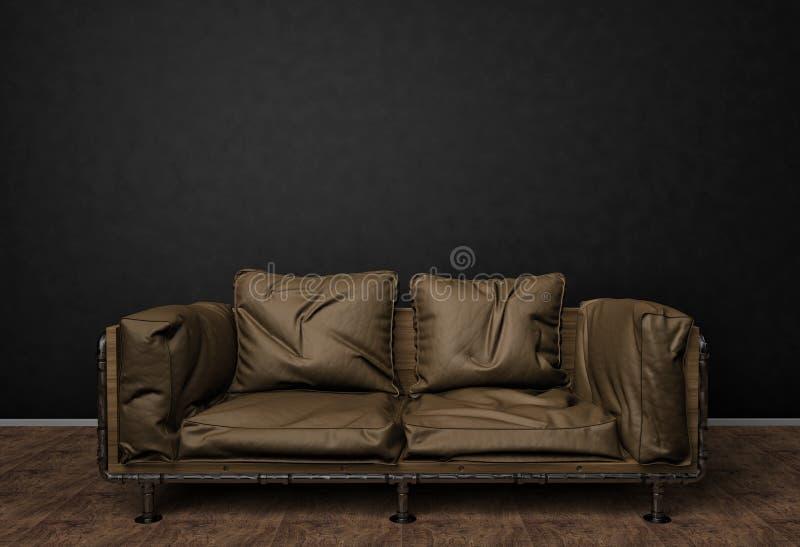 向高处发射照片的内部嘲笑 棕色皮革沙发 最低纲领派样式 与拷贝空间图片