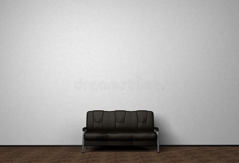 向高处发射照片的内部嘲笑 黑色皮革沙发 最低纲领派样式 与拷贝空间的背景照片文本的 围住白色 库存例证